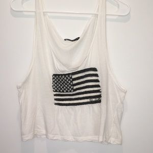 Brandy Melville Flag White Tank Top One Size